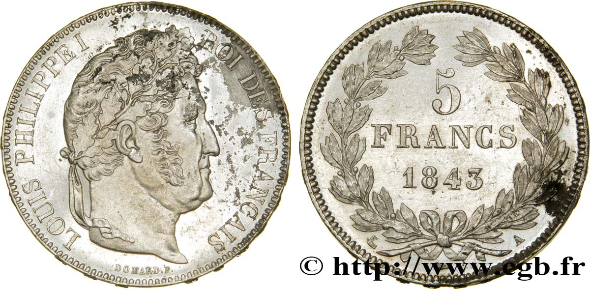 5 francs IIe type Domard 1843 Paris F.324/100 SUP+