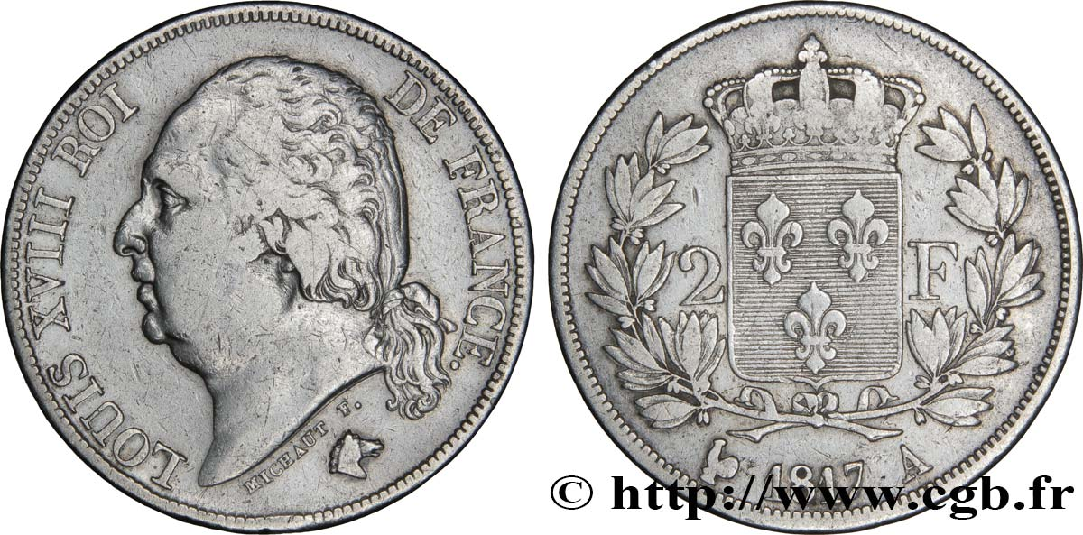 2 francs Louis XVIII 1817 Paris F.257/8 TB25