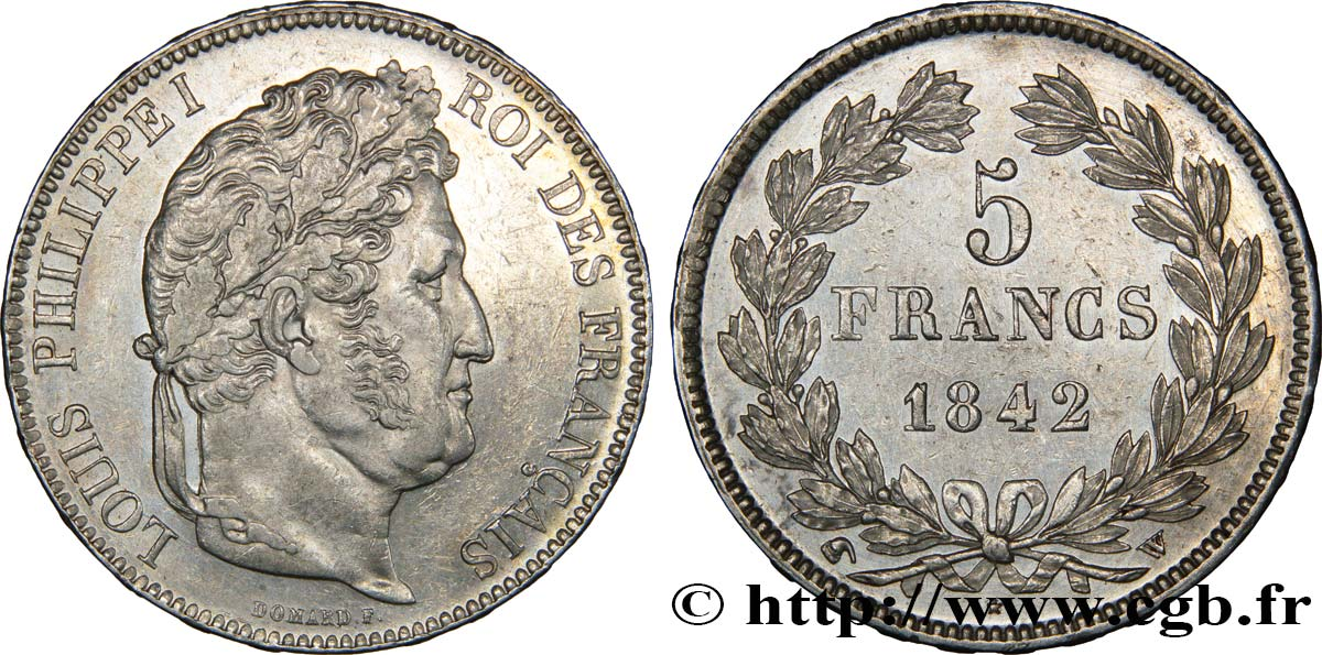5 francs IIe type Domard 1842 Lille F.324/99 TTB53