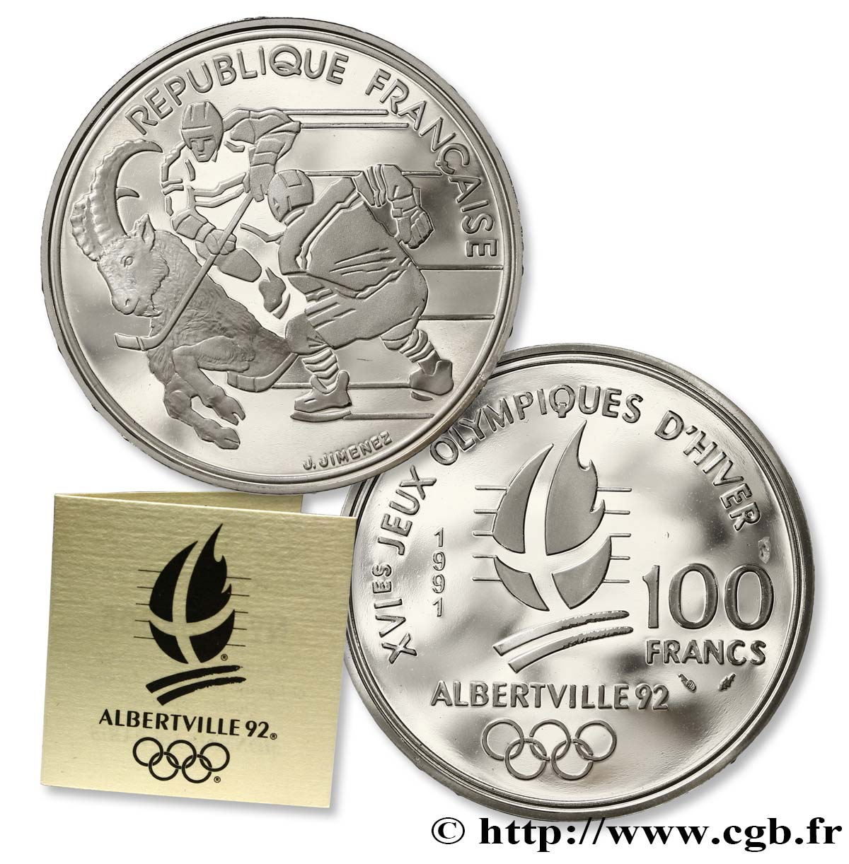 Belle Épreuve 100 francs - Hockey / Bouquetin 1991 Paris F./ FDC65
