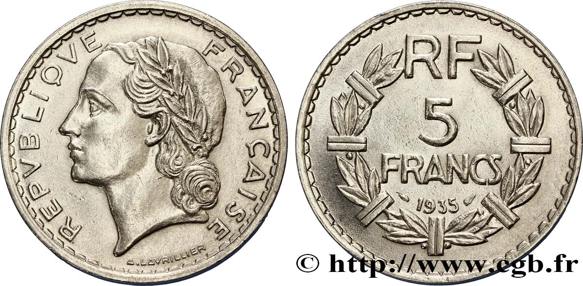 5 francs Lavrillier, nickel 1935  F.336/4 SUP59