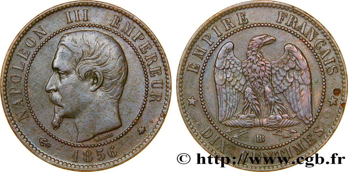 Dix centimes Napoléon III, tête nue 1856 Strasbourg F 133/35
