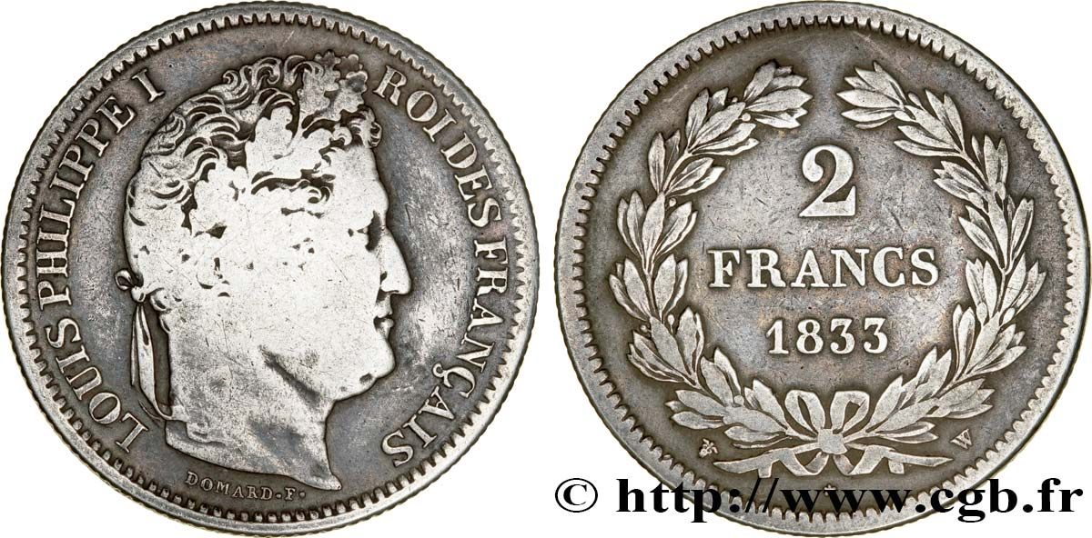 2 francs Louis-Philippe 1833 Lille F.260/28 B12