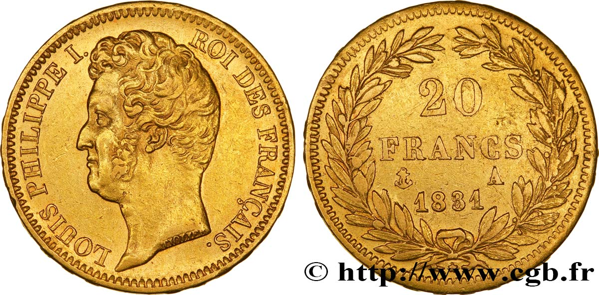 20 francs or Louis-Philippe, Tiolier, tranche inscrite en relief 1831 Paris F.525/2 TTB45