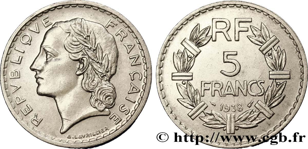 5 francs Lavrillier, nickel 1938  F.336/7 SUP55