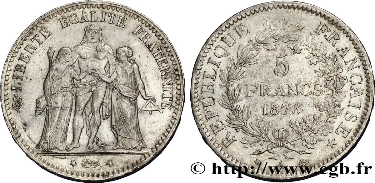 5 francs Hercule 1876 Paris F.334/17 SUP58