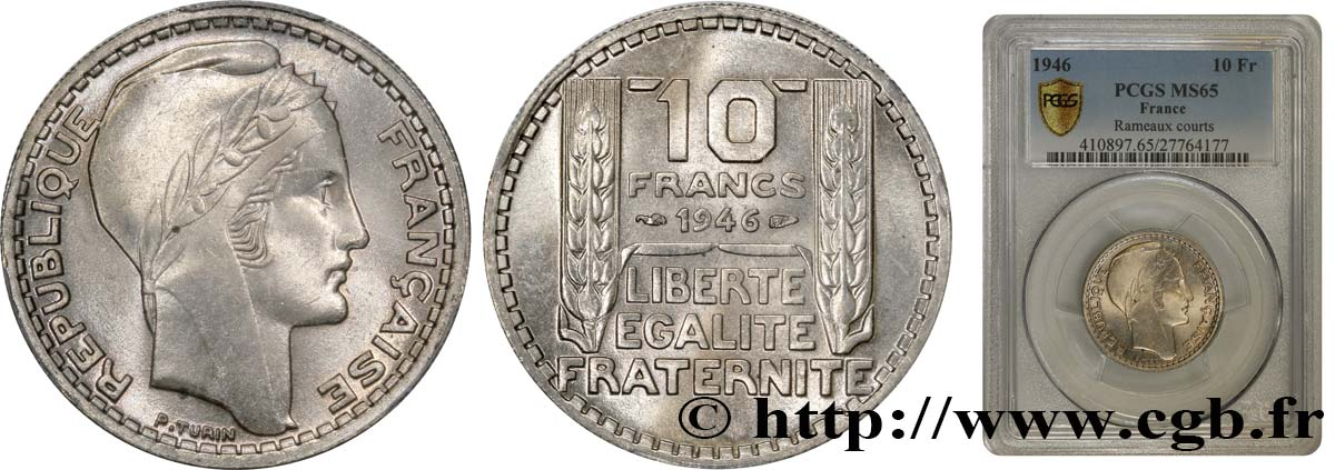 10 francs Turin, grosse tête, rameaux courts 1946  F.361A/2 FDC65