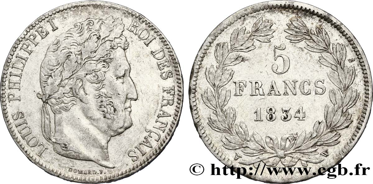 5 francs IIe type Domard 1834 Lille F.324/41 TTB48