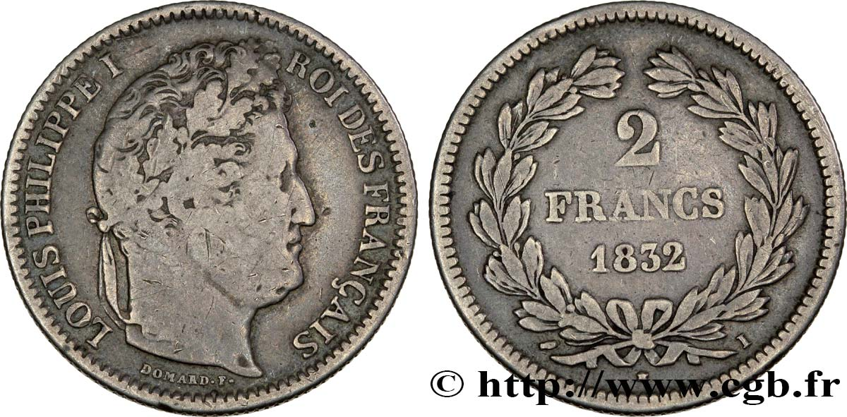 2 francs Louis-Philippe 1832 Limoges F.260/9 TB28