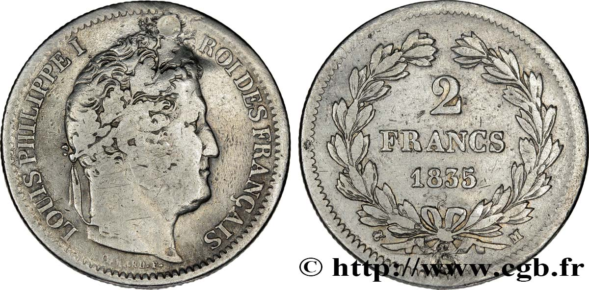 2 francs Louis-Philippe 1835 Toulouse F.260/48 TB20