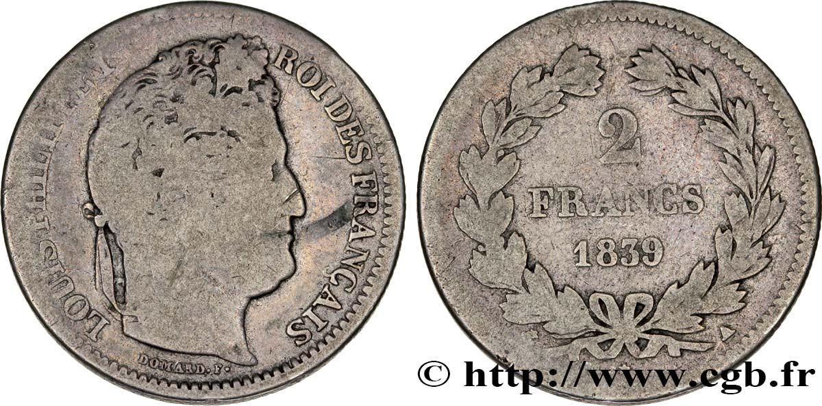 2 francs Louis-Philippe 1839 Paris F.260/70 B10