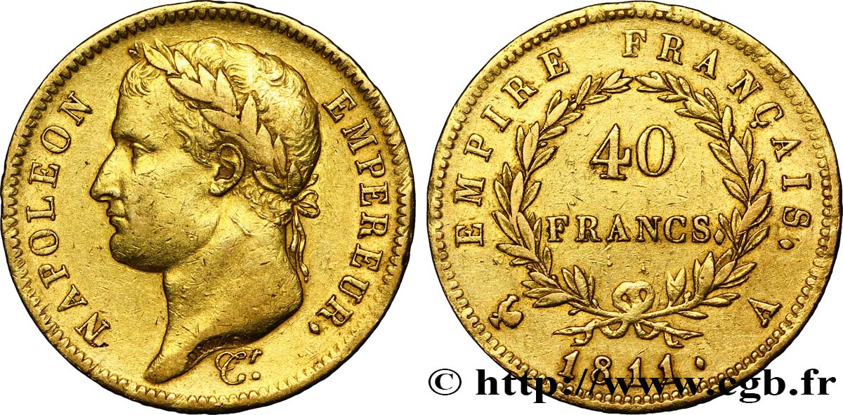 40 francs or Napoléon tête laurée, Empire français 1811 Paris F.541/6 TTB42