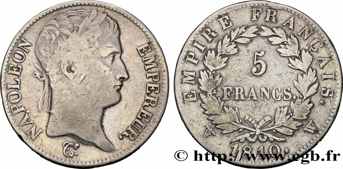 5 Francs Napoléon Empereur Empire Français 1810 Lille F30726