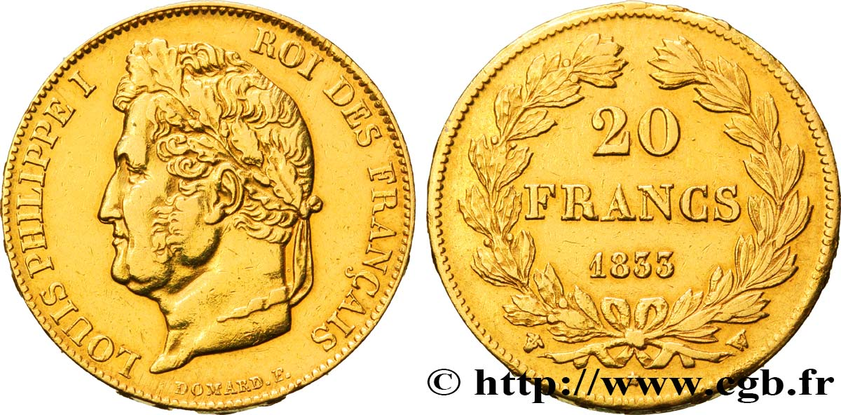 20 francs or Louis-Philippe, Domard 1833 Lille F.527/6 TTB48