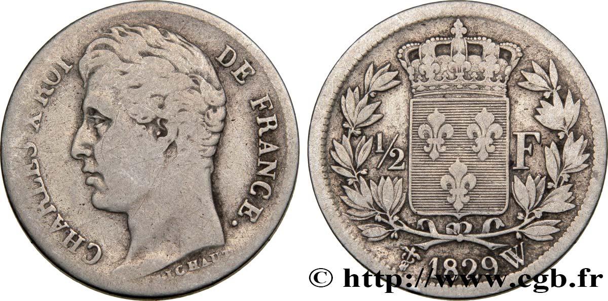 1/2 franc Charles X 1829 Lille F.180/49 TB22