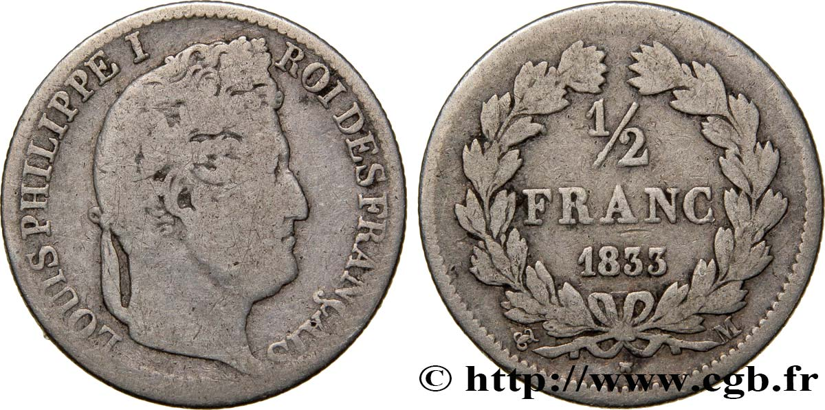 1/2 franc Louis-Philippe 1833 Toulouse F.182/35 TB18