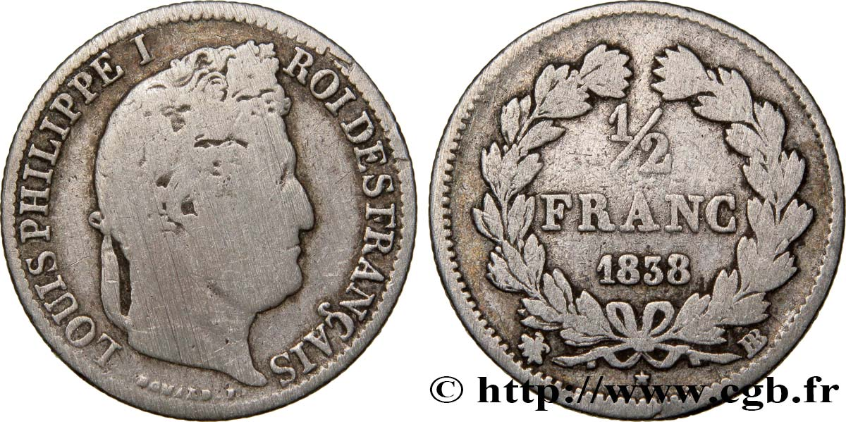 1/2 franc Louis-Philippe 1838 Strasbourg F.182/74 F12