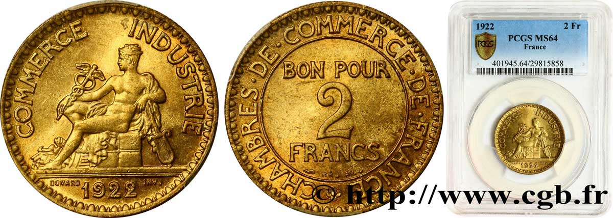 2 francs Chambres de commerce 1922 Paris F.267/4 SPL64 PCGS