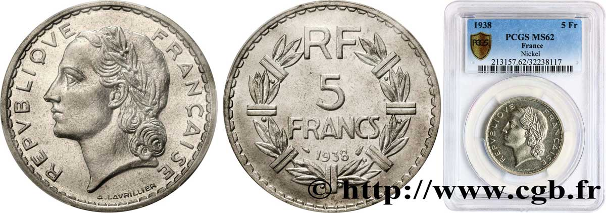 5 francs Lavrillier, nickel 1938  F.336/7 SUP62 PCGS