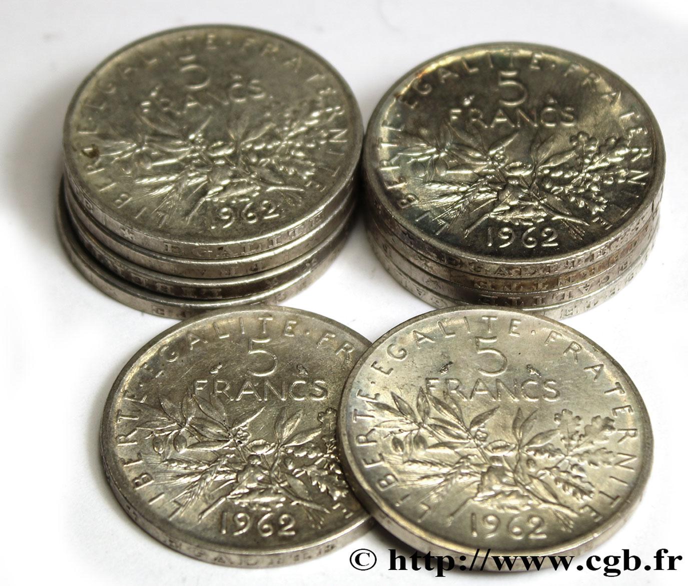 Lot De 10 Pieces De 5 Francs Semeuse Argent 1962 Paris F 340 6