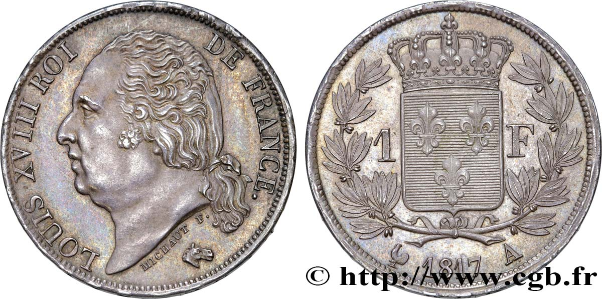 1 franc Louis XVIII 1817 Paris F.206/9 SUP62