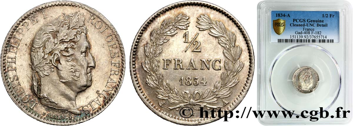 1/2 franc Louis-Philippe 1834 Paris F.182/39 SUP+ PCGS