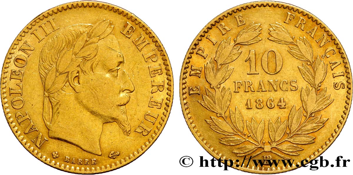 10 francs or napol on iii t te laur e 1864 strasbourg fmd 385447 modernes. Black Bedroom Furniture Sets. Home Design Ideas