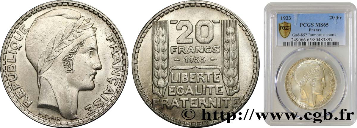 20 francs Turin, rameaux courts 1933  F.400A/1 FDC65 PCGS