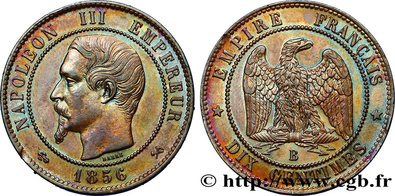 Dix centimes Napoléon III, tête nue 1856 Rouen F.133/34 AU58
