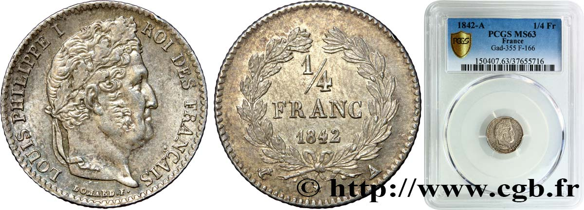 1/4 franc Louis-Philippe 1842 Paris F.166/89 SPL63 PCGS