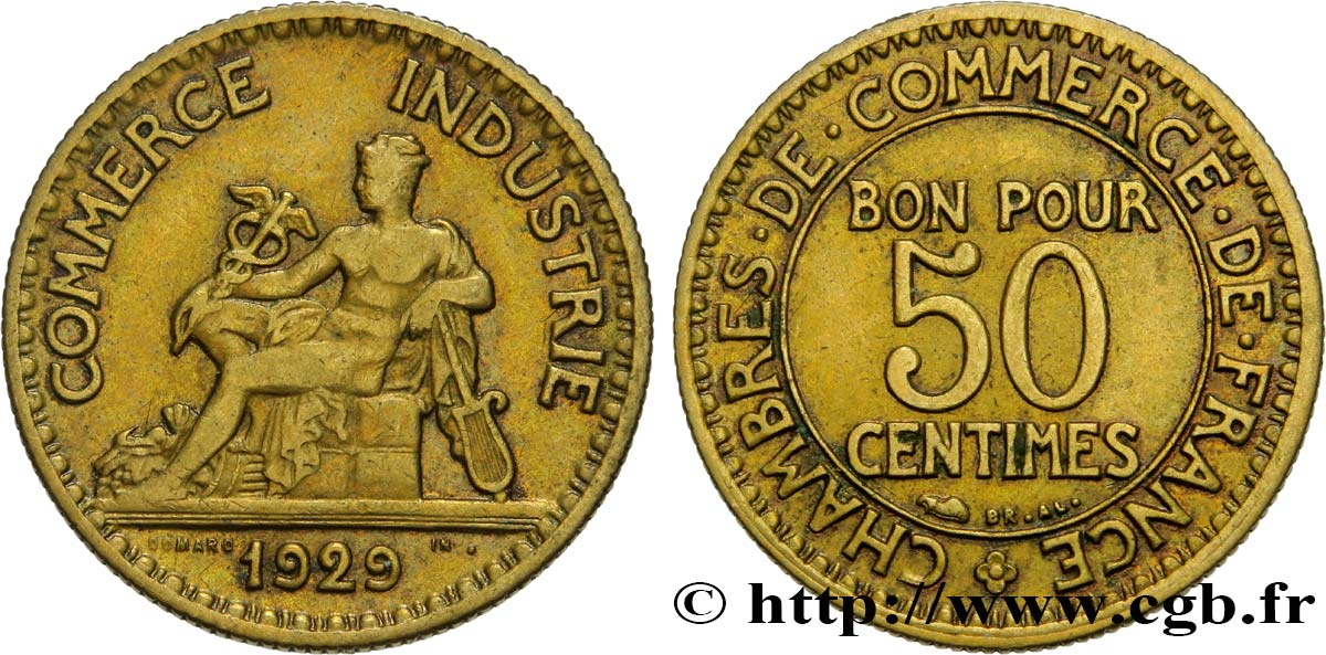 50 centimes Chambres de Commerce 1929 Paris F.191/11 XF45