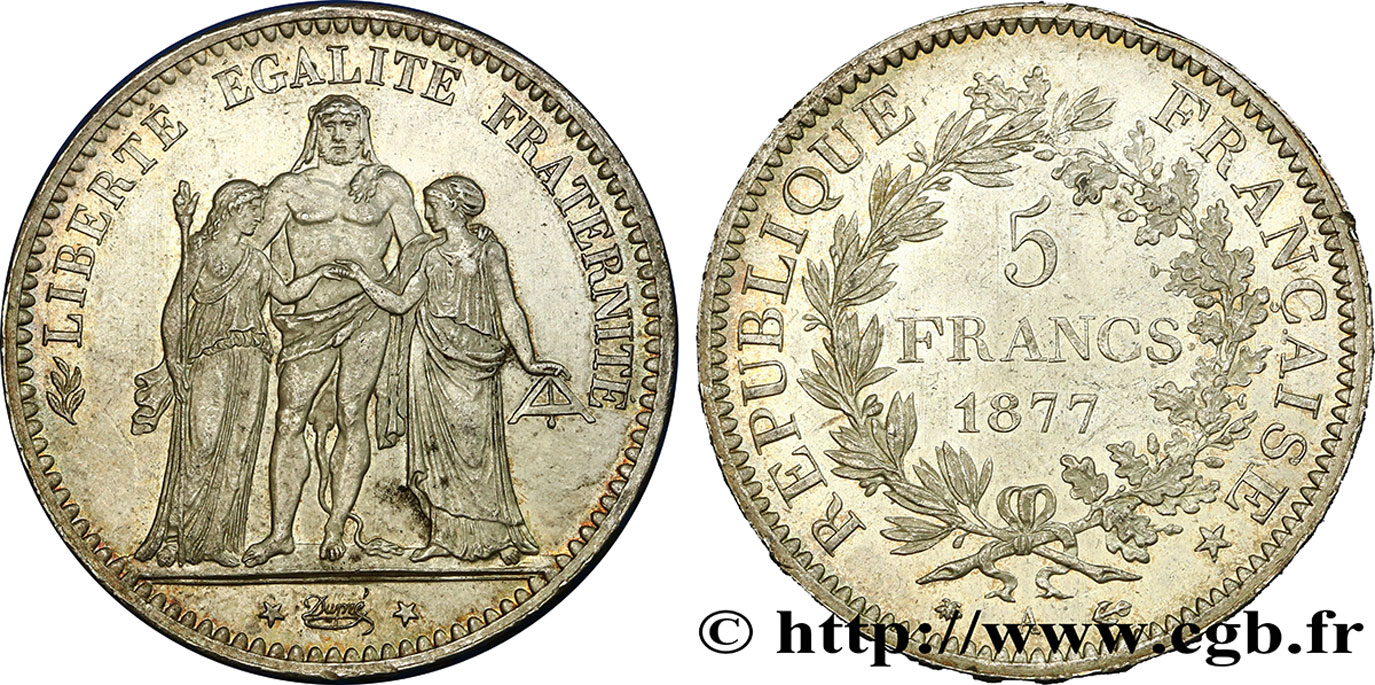 5 francs Hercule 1877 Paris F.334/19 SUP62