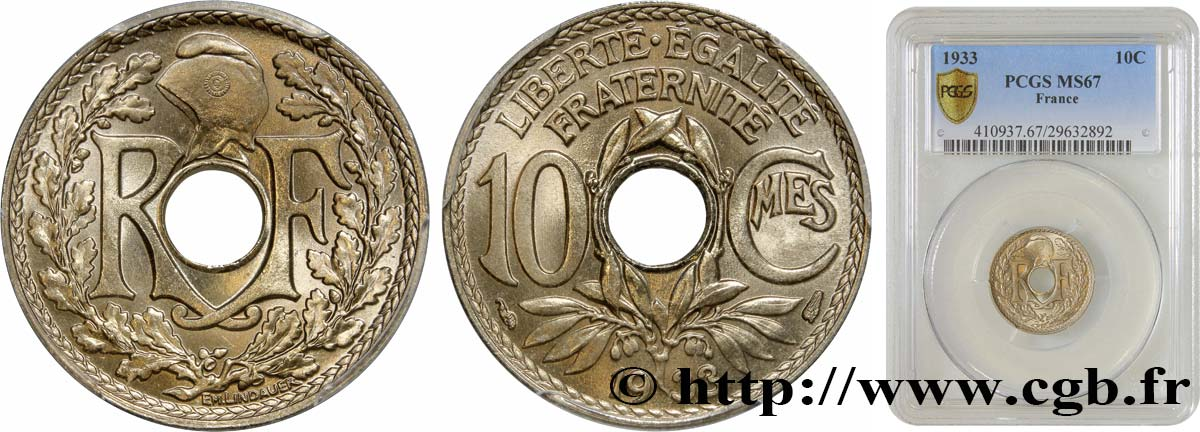 10 centimes Lindauer 1933  F.138/20 FDC67 PCGS
