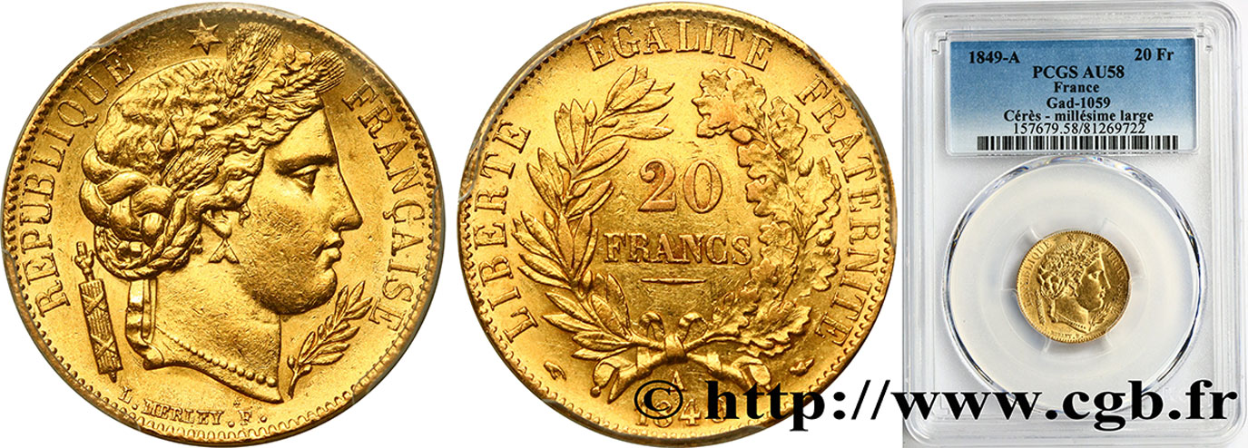20 francs or Cérès 1849 Paris F.529/1 SUP58 PCGS