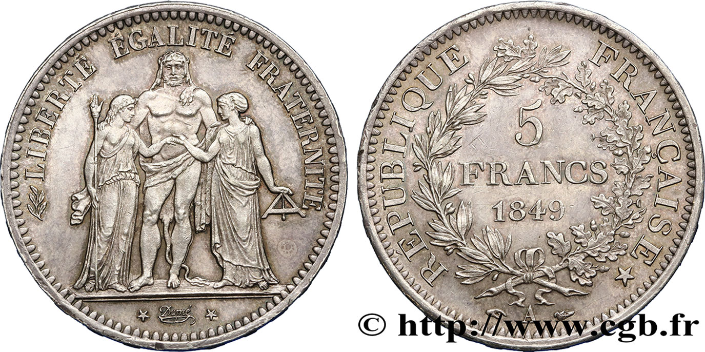 5 francs Hercule, IIe République 1849 Paris F.326/5 SUP58