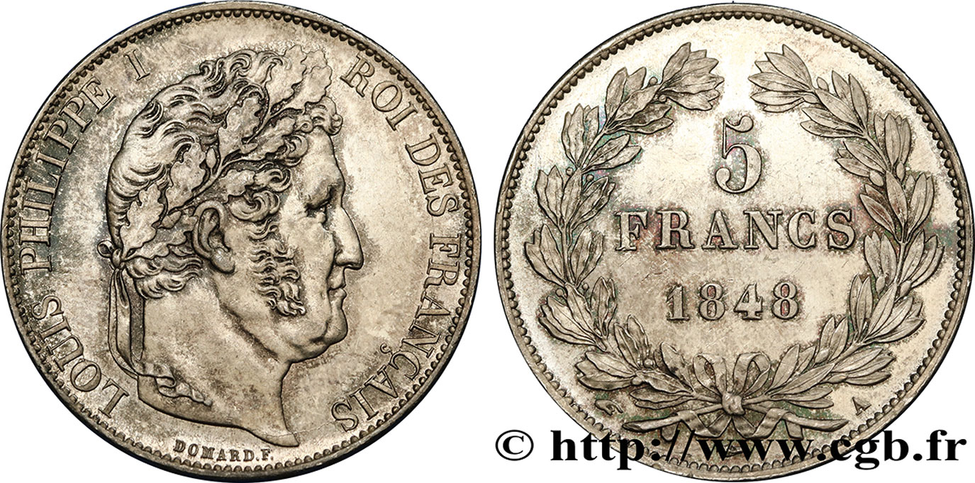 5 francs IIIe type Domard 1848 Paris F.325/17 SUP60