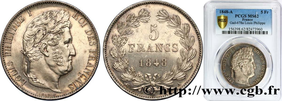 5 francs IIIe type Domard 1848 Paris F.325/17 SUP62 PCGS