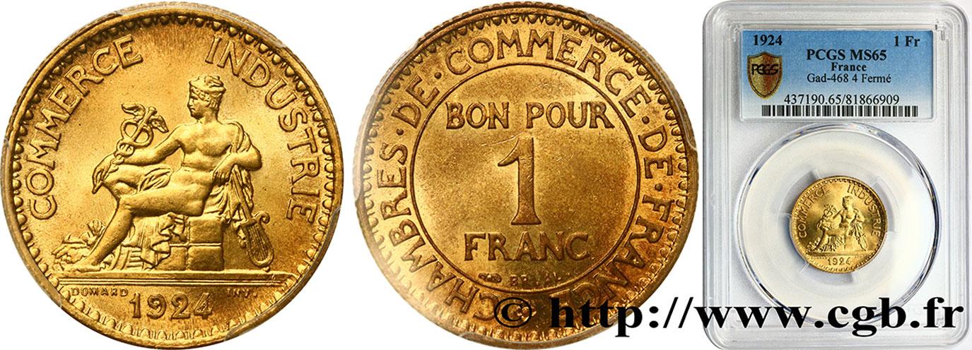 1 franc chambres de commerce 1924 paris ms65 pcgs for Chambre commerce international paris