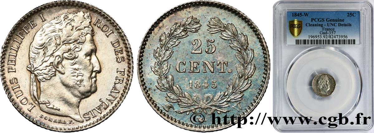 25 centimes Louis-Philippe 1845 Lille F.167/4 SUP+ PCGS