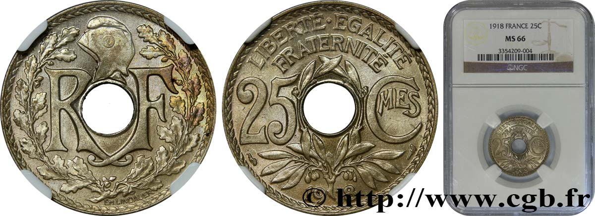 25 centimes Lindauer 1918  F.171/2 FDC66 NGC