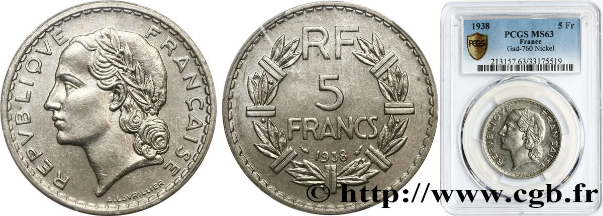 5 francs Lavrillier, nickel 1938  F.336/7 SPL63 PCGS
