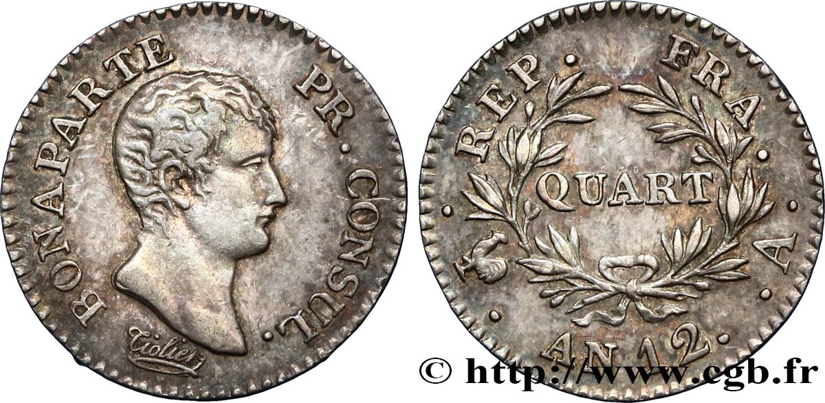 Quart (de franc) Bonaparte Premier Consul 1804 Paris F.157/1 SUP55