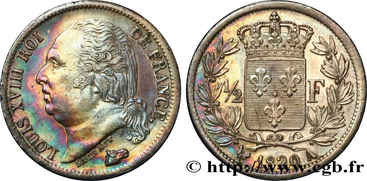 1/2 franc Louis XVIII 1820 Paris F.179/25 SUP60