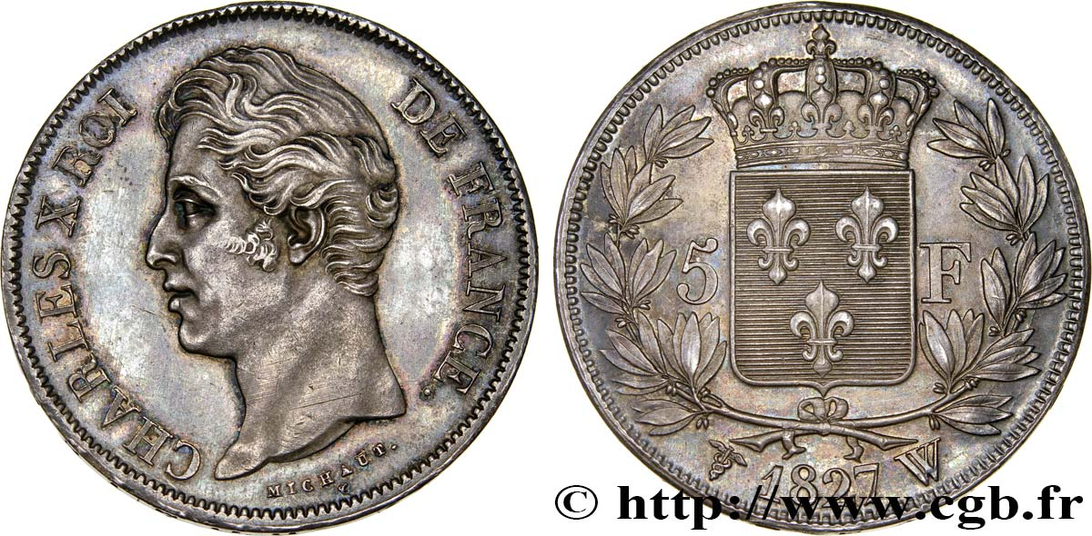 5 francs Charles X, 2e type 1827 Lille F.311/13 SUP62