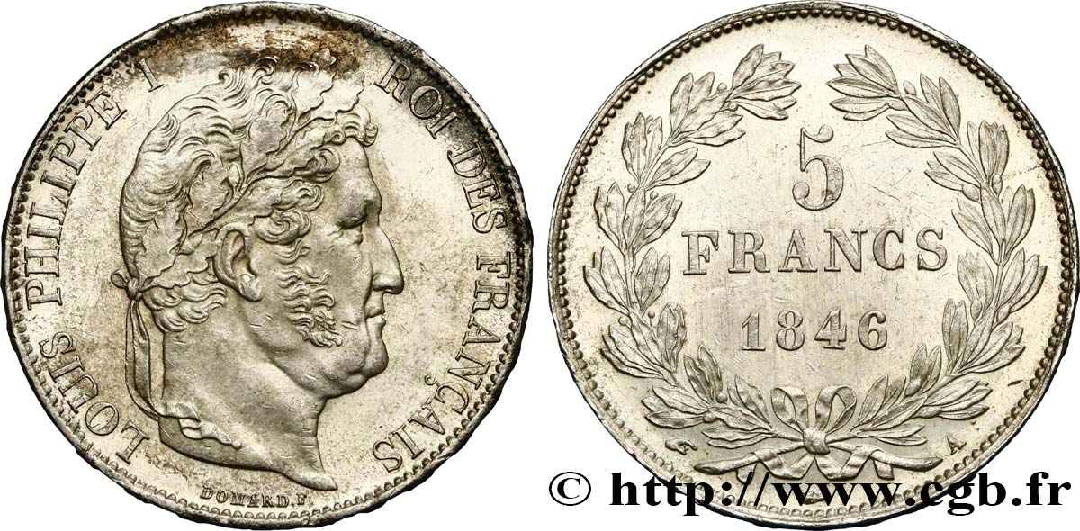 5 francs IIIe type Domard 1846 Paris F.325/10 SUP58