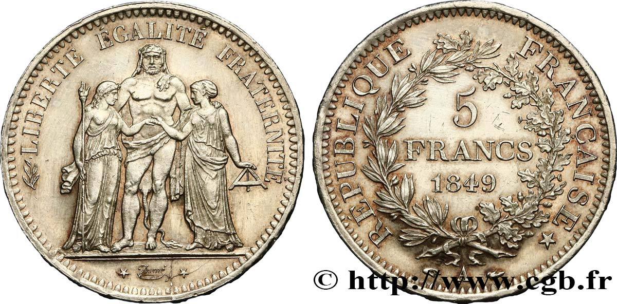 5 francs Hercule, IIe République 1849 Paris F.326/5 SUP