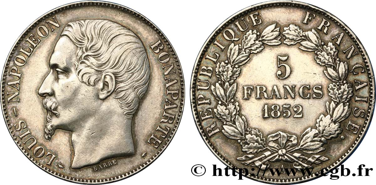 5 francs Louis-Napoléon, 2ème type 1852 Paris F.329/2 TTB+