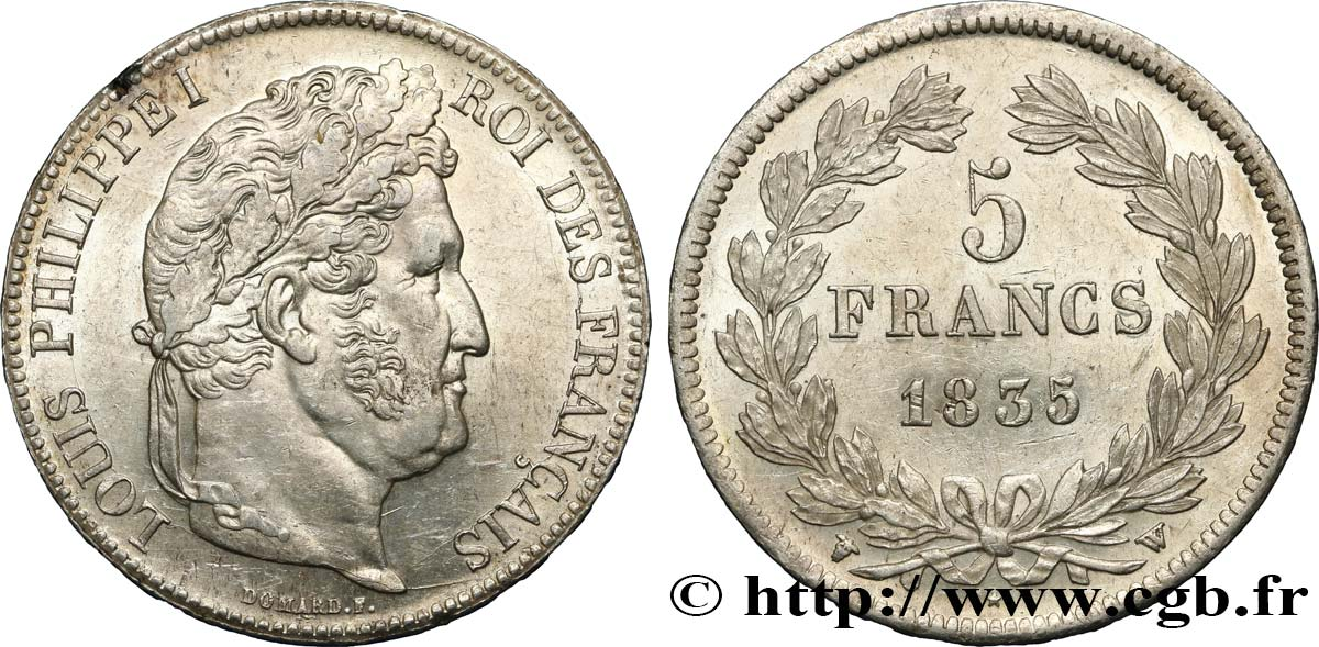 5 francs IIe type Domard 1835 Lille F.324/52 SUP56