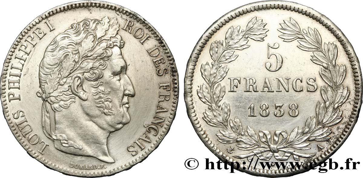 5 francs IIe type Domard 1838 Paris F.324/68 SUP