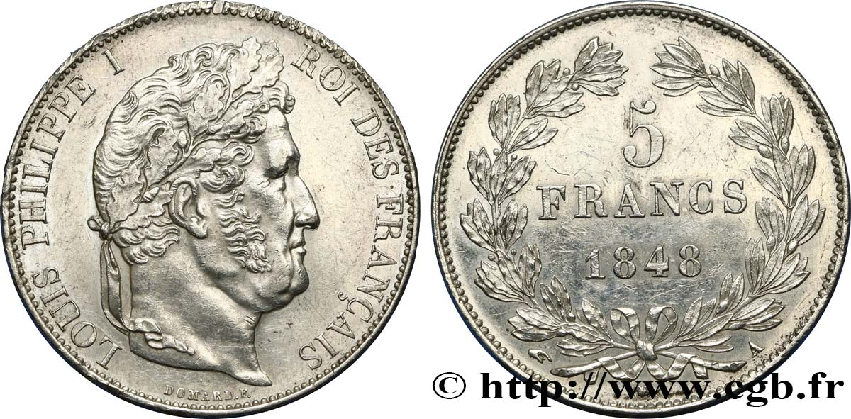 5 francs IIIe type Domard 1848 Paris F.325/17 TTB52